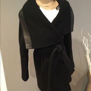 Mackage theory wrap coat oversize collar leather